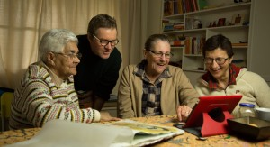 Aunty Joyce Hampton, Bernard Sullivan, Aunty Lorraine Tye and Nives Zalokar working on Artists' books